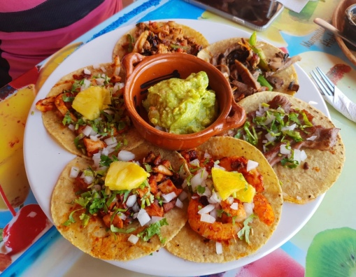 Variety of meat and seafood tacos at Taco y Tequila Cancun , La Isla Shopping centre