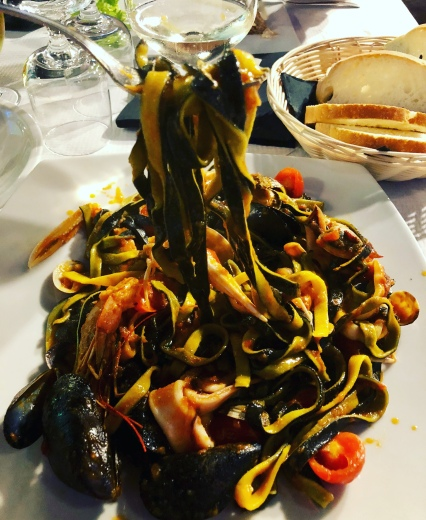 Squid ink tagliatelle in Sardinia