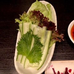 Plate of mixed leaves, shisho and cucmber