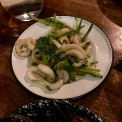 Squid strips, garlic, parsley and mangetout £5