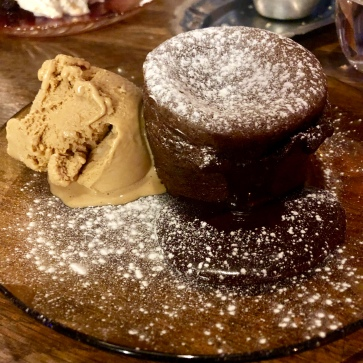 Chocolate fondant with caramel ice cream £8