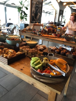 Selection of pastries and fresh fruit