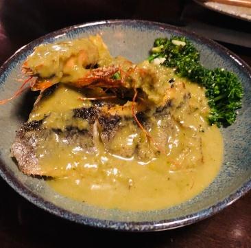Thai seabass and prawn green curry
